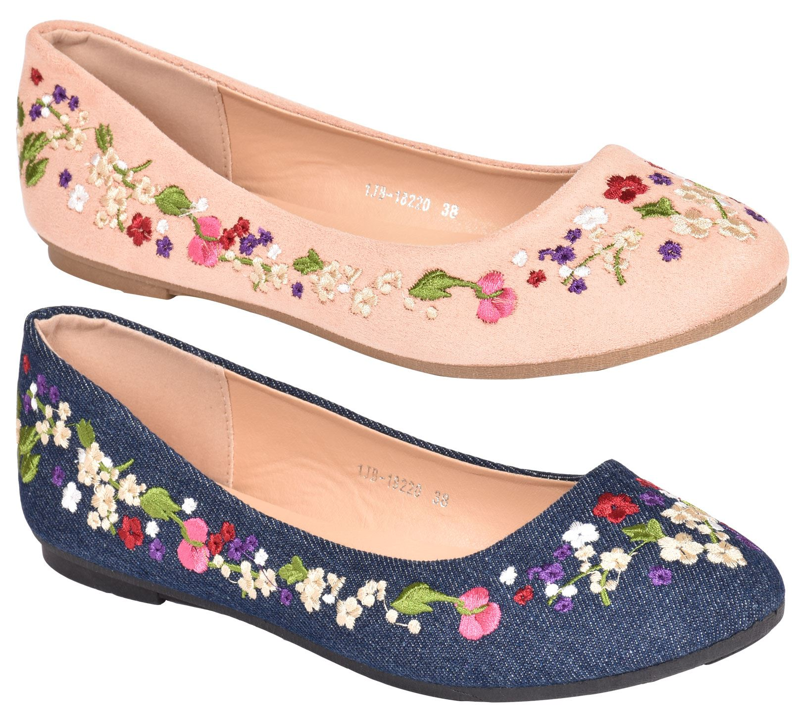 New Ladies Flat Plimsolls Floral Pumps Shoes UK Size 3-9 Sneakers