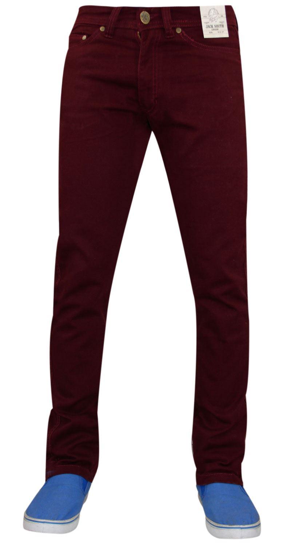 Mens-Jeans-Ajustados-Slim-Fit-Denim-Sarga-de-algodon-elastico-Pantalones-Chinos-Pantalones miniatura 5