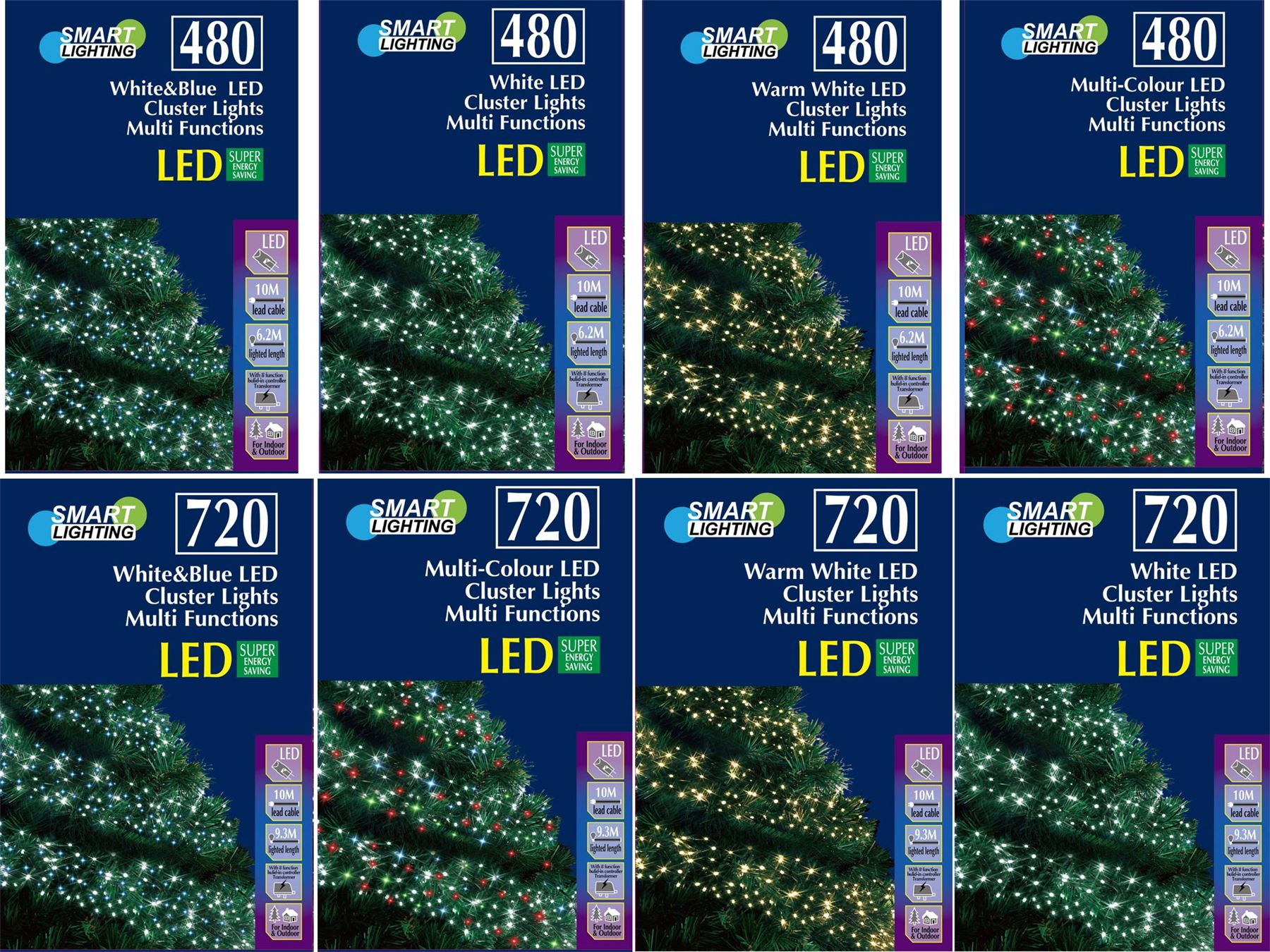 Led christmas lights xmas strip cluster multifuntions white