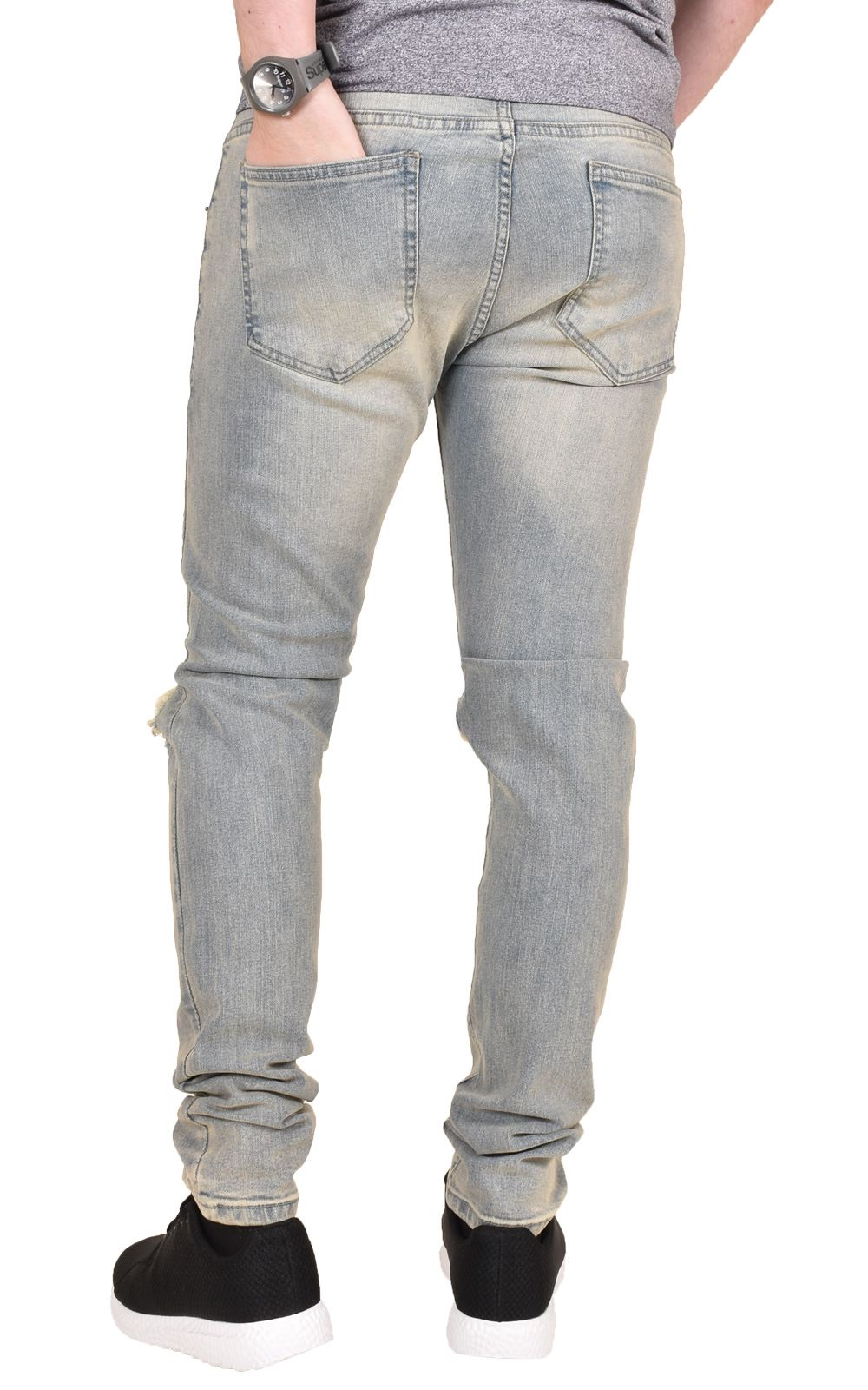 d33b1e7793a9f Mens Knee Ripped Jeans Skinny Fit Stretchable Azire Branded Denim ...
