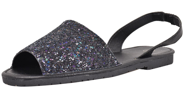 Truffle-Ladies-Menorcan-Sandals-Slingback-Flat-Glitter-Peep-Toe-Spanish-Shoes thumbnail 3