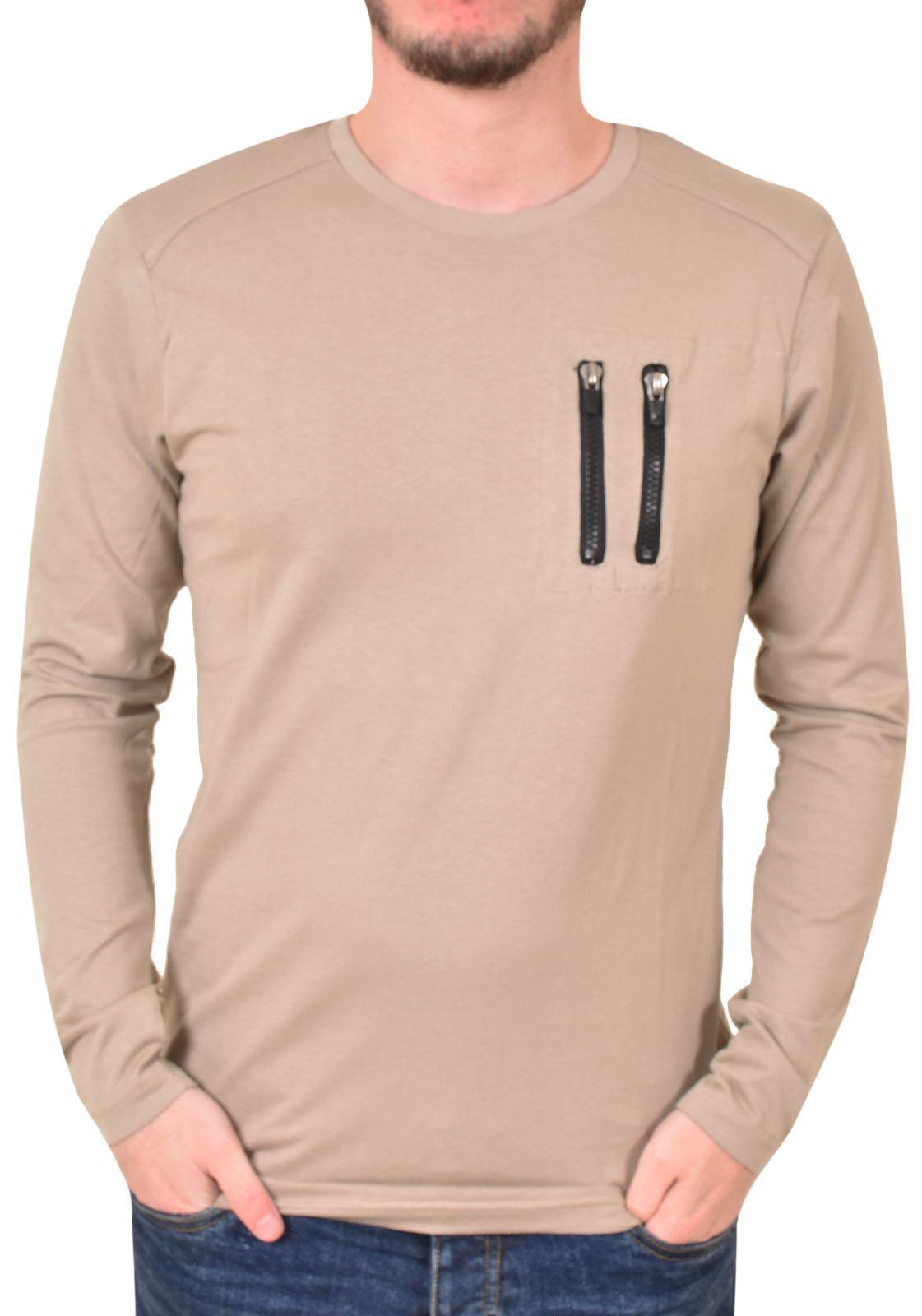 e4a25cdfa22b Mens Long Sleeve T-Shirt Crew Neck Zip Pocket Cotton Regular Tee Loyalty &  Faith