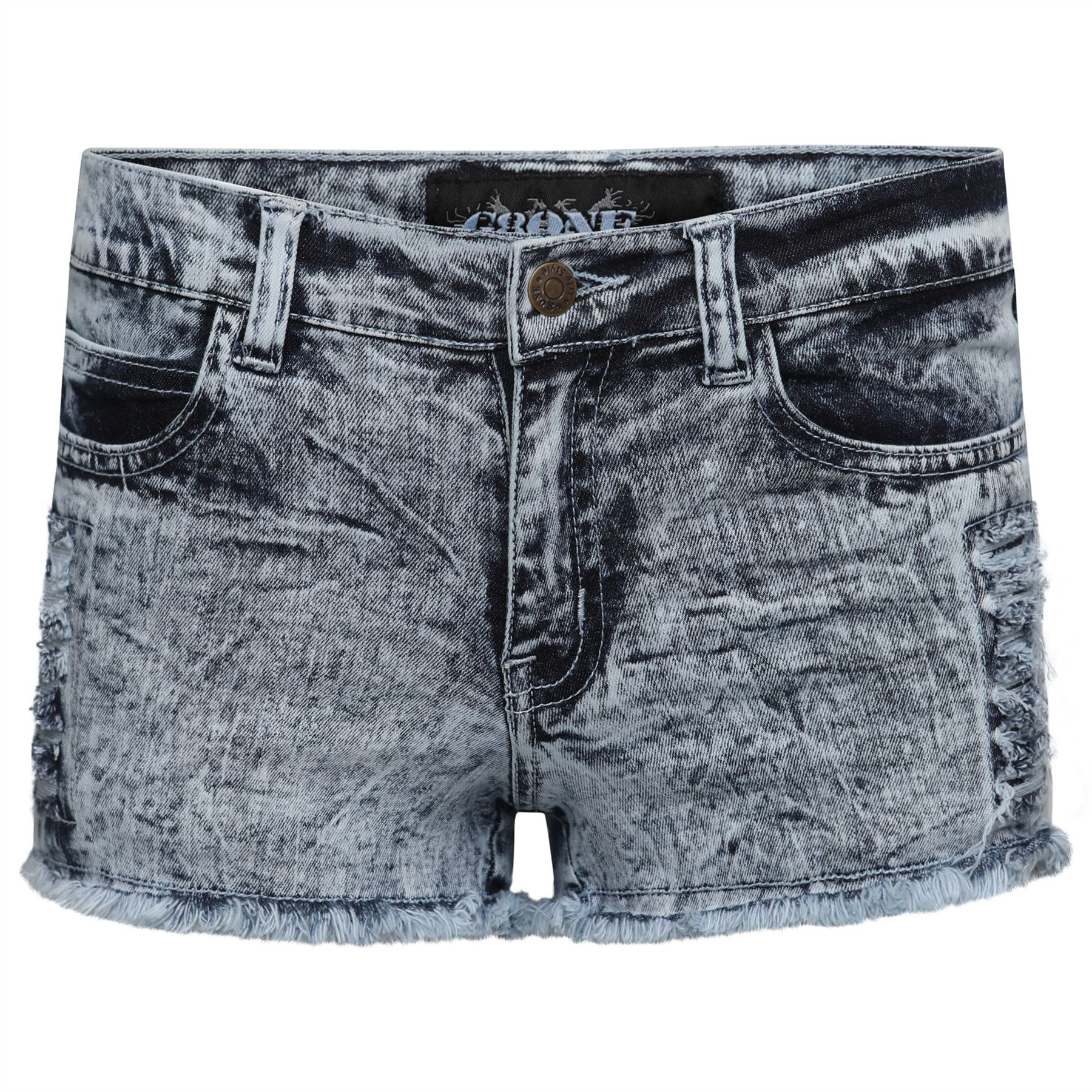 640bd38071 Ladies Denim Shorts Women Bottoms Frayed Hem Ripped Stretch Size UK 8-16