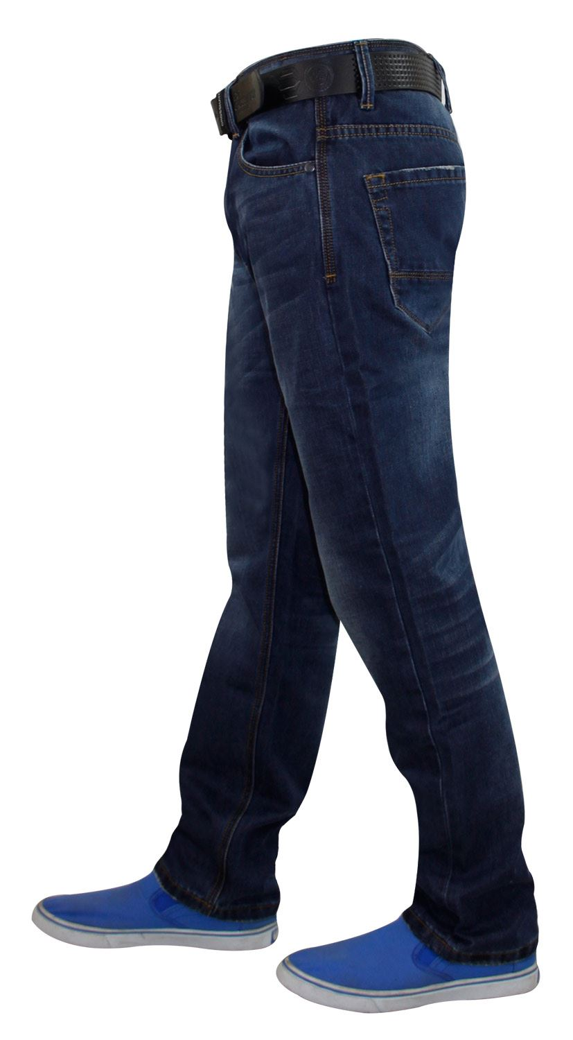 Mens-Straight-Leg-Jeans-Regular-Fit-Denim-Pants-Trousers-With-Free-Leather-Belt thumbnail 3