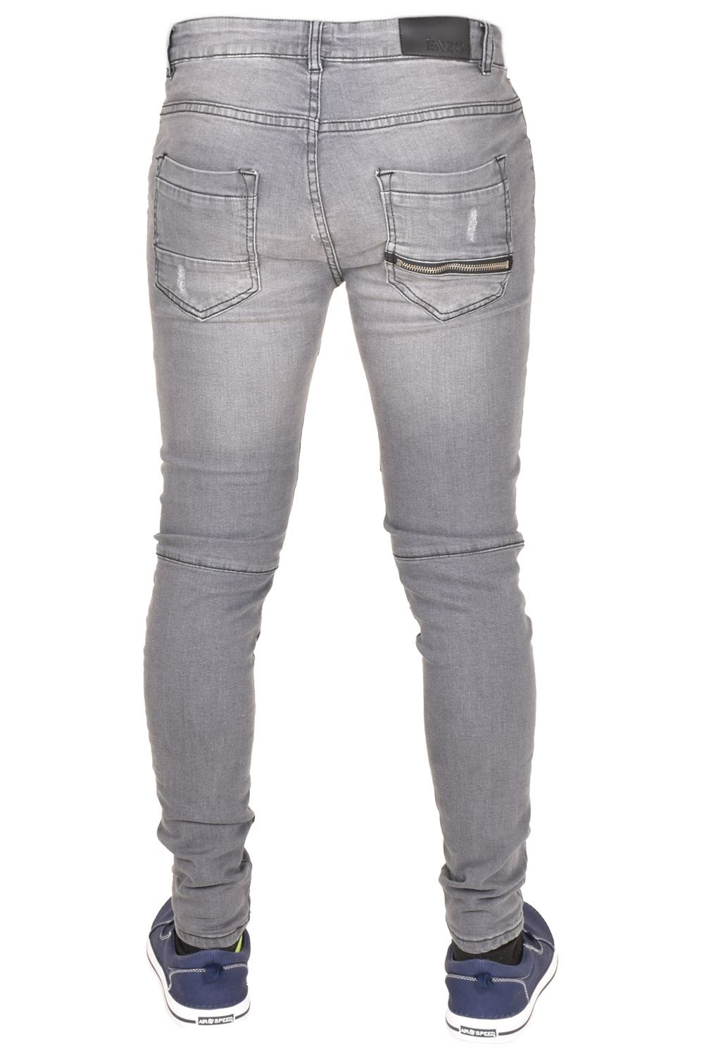 Enzo-Mens-Ripped-Jeans-Skinny-Slim-Fit-Denim-Pants-Casual-Trousers-Size-28-40 thumbnail 6
