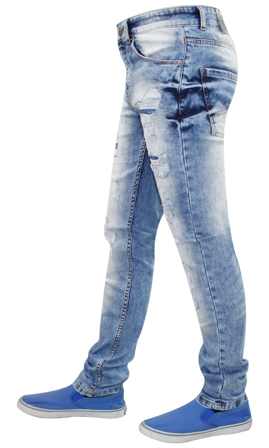 Mens-Ripped-Jeans-Slim-Fit-Skinny-Denim-Stretch-Pants-Cotton-Trousers-28-to-38 thumbnail 9