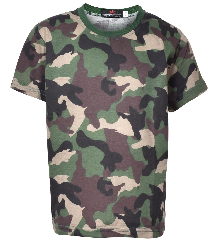 c9f041e8a Kids Boys Camouflage T-shirt Army Woodland Camo Military School PE ...