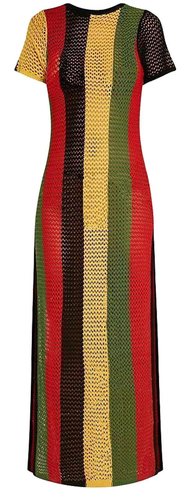 bb0c8e9b7e71e Ladies Rasta Multicolored Side Slit String Mesh Maxi Dress   eBay