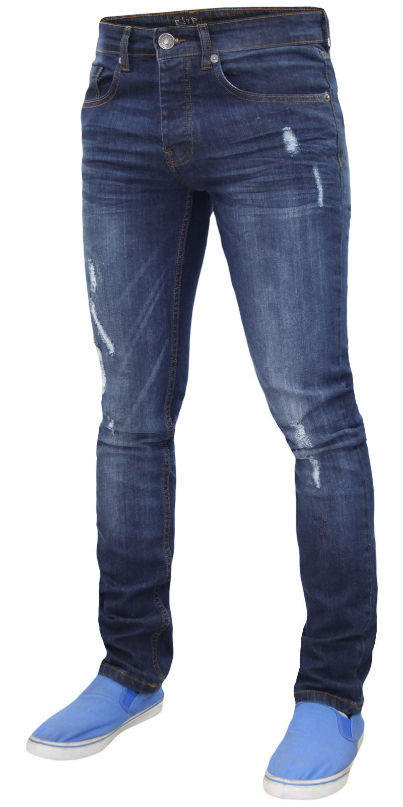 Mens-Skinny-Stretch-Ripped-Jeans-Slim-Fit-Casual-Trousers-Denim-Pants-All-Sizes thumbnail 7