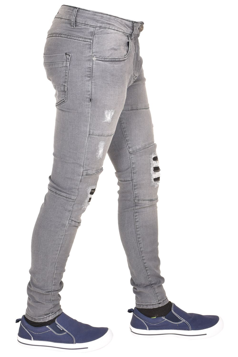Enzo-Mens-Ripped-Jeans-Skinny-Slim-Fit-Denim-Pants-Casual-Trousers-Size-28-40 thumbnail 5