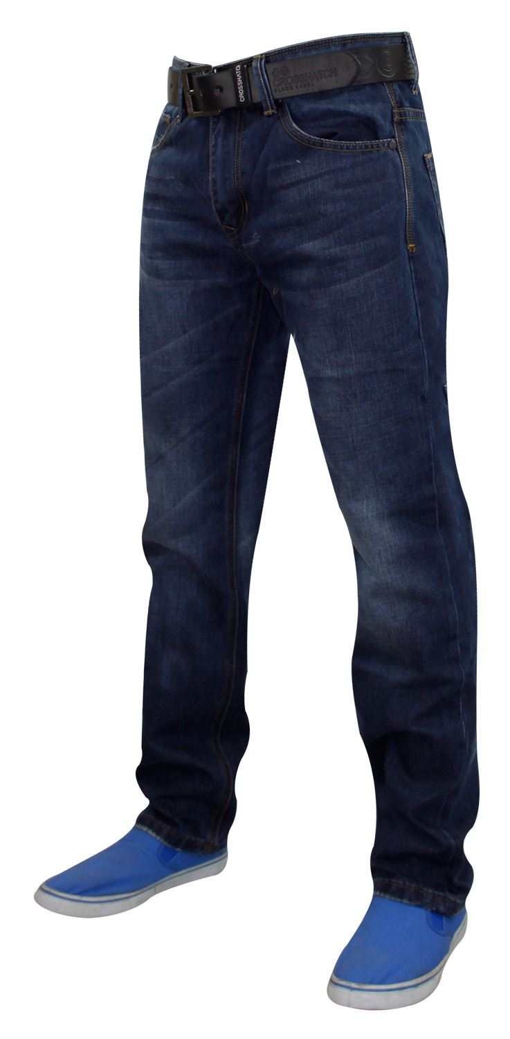 Mens-Straight-Leg-Jeans-Regular-Fit-Denim-Pants-Trousers-With-Free-Leather-Belt thumbnail 4