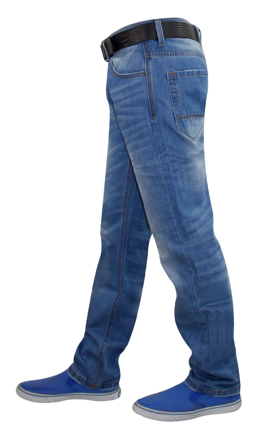 Mens-Straight-Leg-Jeans-Regular-Fit-Denim-Pants-Trousers-With-Free-Leather-Belt thumbnail 11