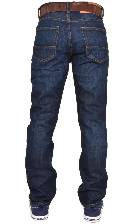Crosshatch-Men-Jeans-Regular-Straight-Leg-Open-Hem-Trousers-Pants-With-Free-Belt thumbnail 4