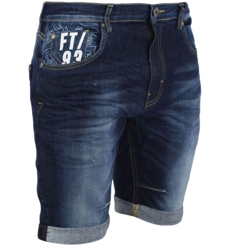 Firetrap Mens Denim Shorts Zip Fly Slim Fit Above Knee Multi Pockets Casual
