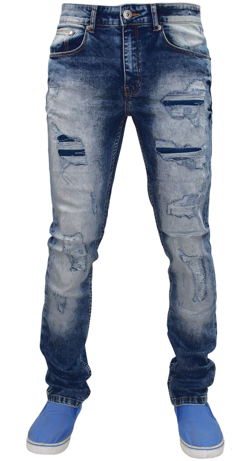 Mens-Ripped-Jeans-Slim-Fit-Skinny-Denim-Stretch-Pants-Cotton-Trousers-28-to-38 thumbnail 3