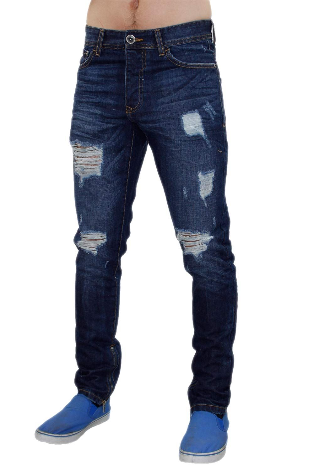 3dd32b5277 Men Ankle Zip Jeans Ripped Skinny Fit Denim Style Designer Quality ...