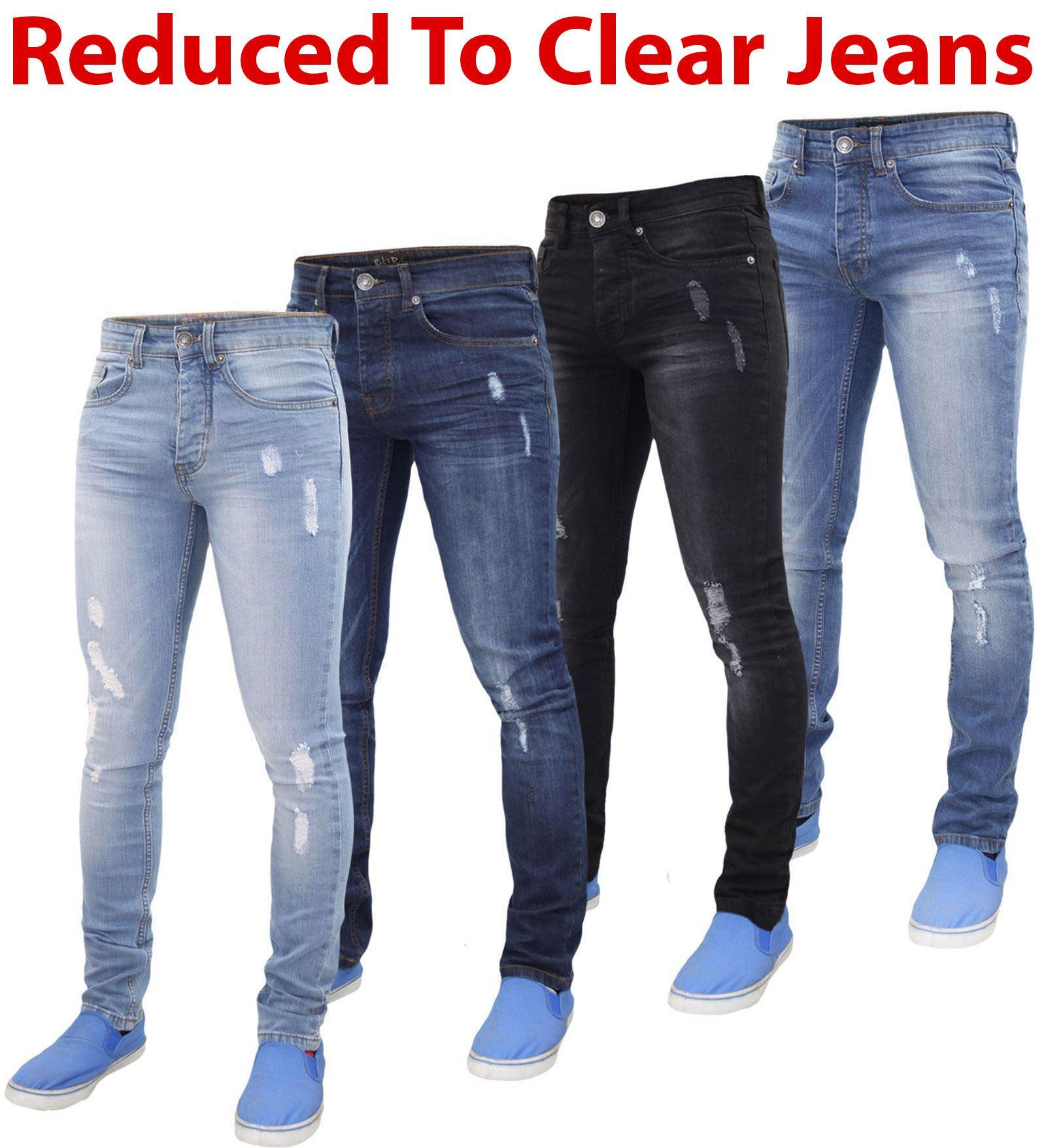 NUOVA linea uomo Super Stretch Skinny Strappato Designer Denim Jeans Pantaloni Tutte Le Taglie Vita