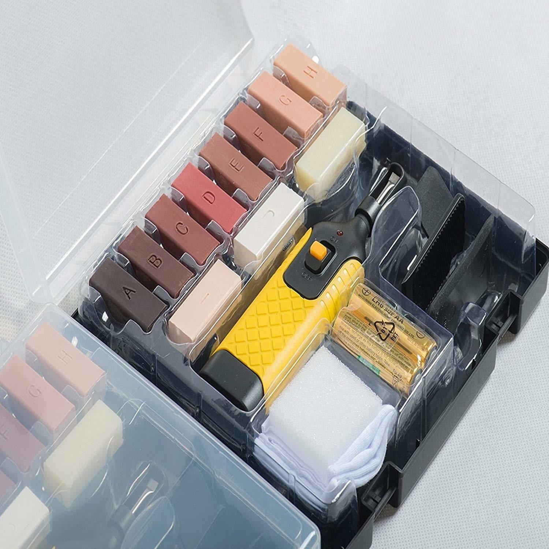 19pc Laminate Floor / Worktop Repair Kit Chips Scratches DIY Wax Sturdy Case