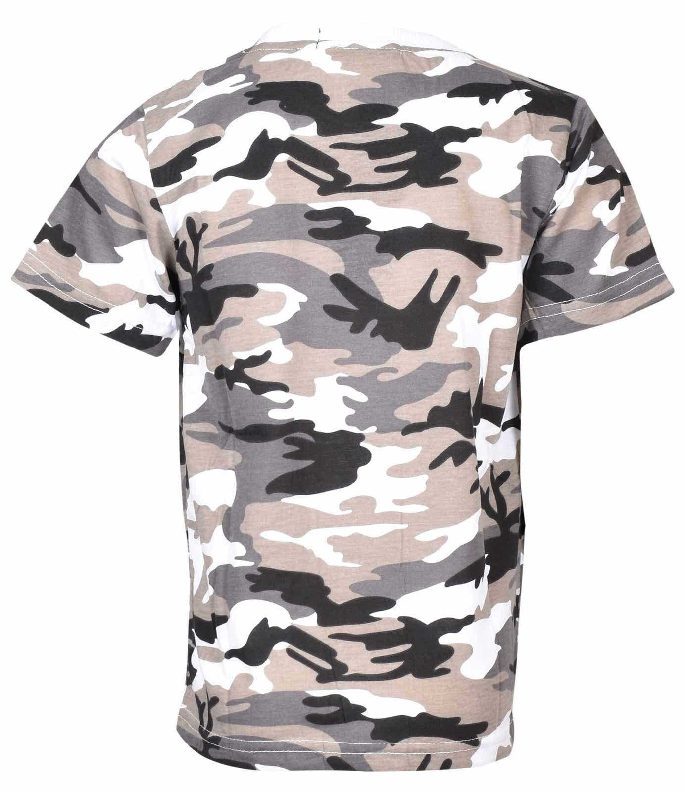 458c2b1a4ba9 Maglietta mimetica per camerette per ragazzi Army Woodland Camo Scuola  militare PE Top 2-13 anni