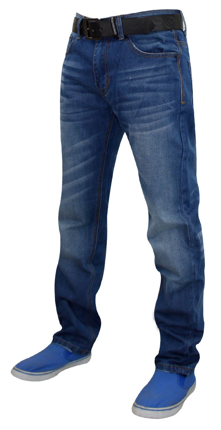 Mens-Straight-Leg-Jeans-Regular-Fit-Denim-Pants-Trousers-With-Free-Leather-Belt thumbnail 8