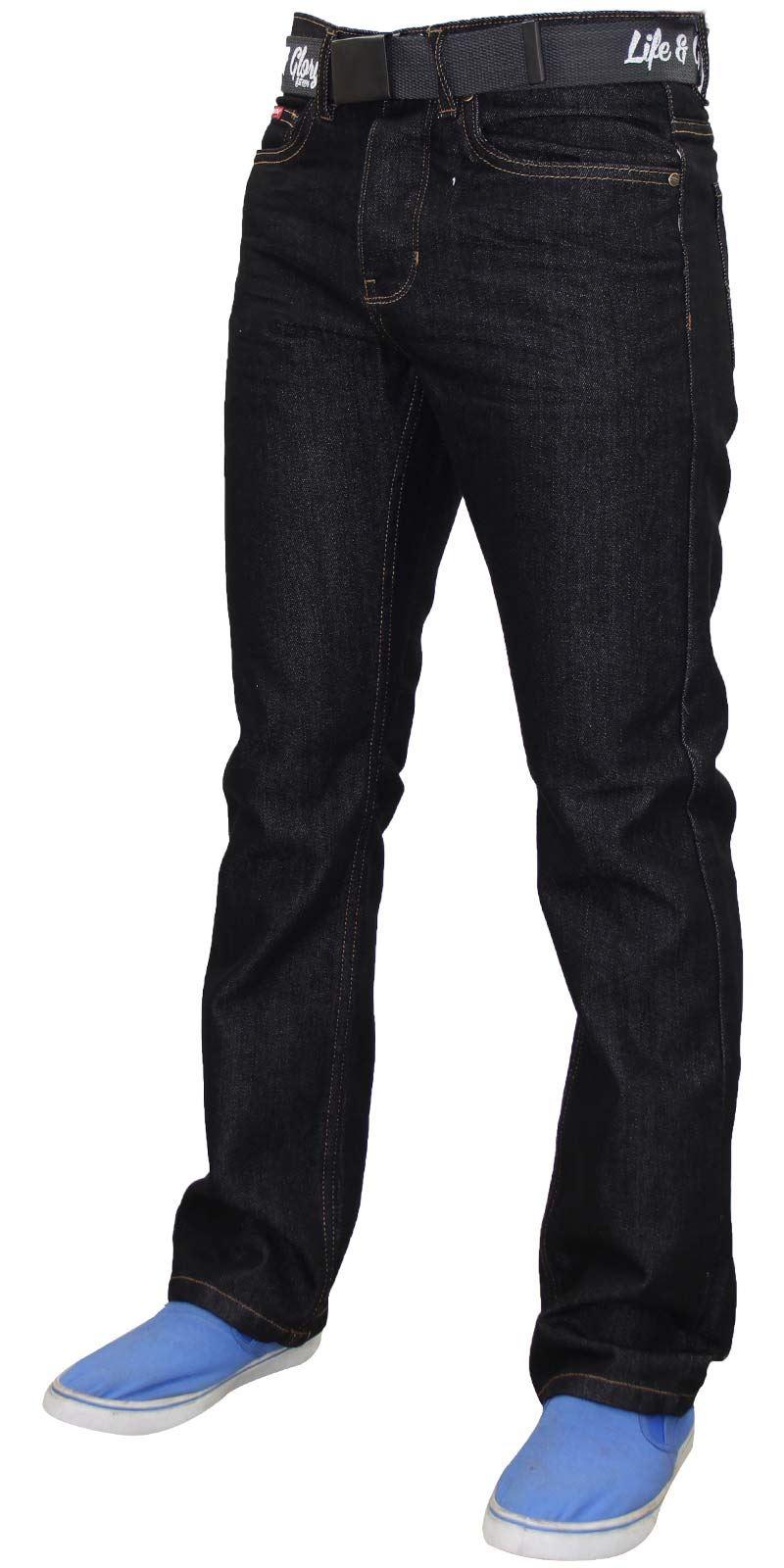 Mens-Regular-Fit-Jeans-Straight-Leg-Denim-Pants-Casual-Trousers-With-Free-Belt thumbnail 4