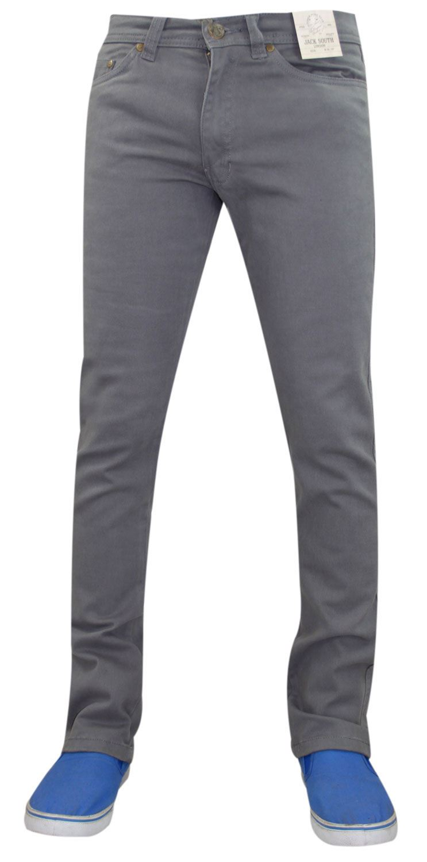Mens-Jeans-Ajustados-Slim-Fit-Denim-Sarga-de-algodon-elastico-Pantalones-Chinos-Pantalones miniatura 8
