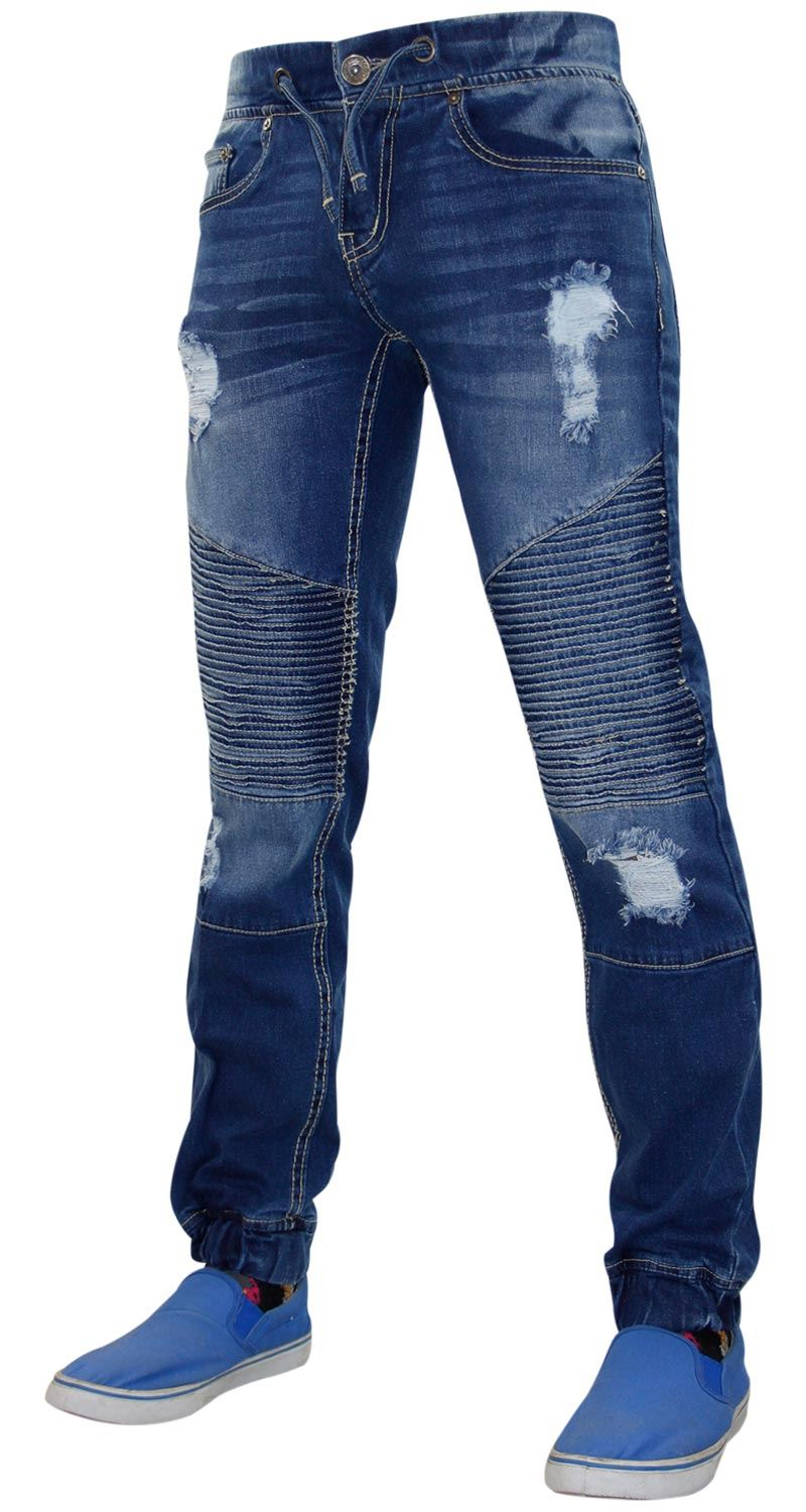 Mens-Ripped-Jeans-Slim-Fit-Distressed-Denim-Biker-Pants-Casual-Cuffed-Trousers thumbnail 12