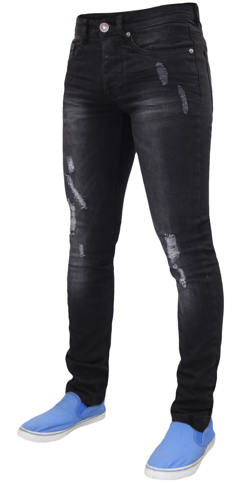 Mens-Skinny-Stretch-Ripped-Jeans-Slim-Fit-Casual-Trousers-Denim-Pants-All-Sizes thumbnail 3