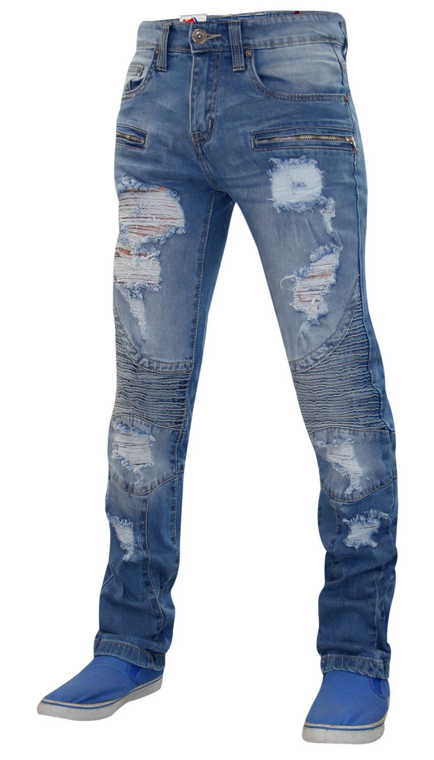 Mens-Ripped-Jeans-Slim-Fit-Distressed-Denim-Biker-Pants-Casual-Cuffed-Trousers thumbnail 4