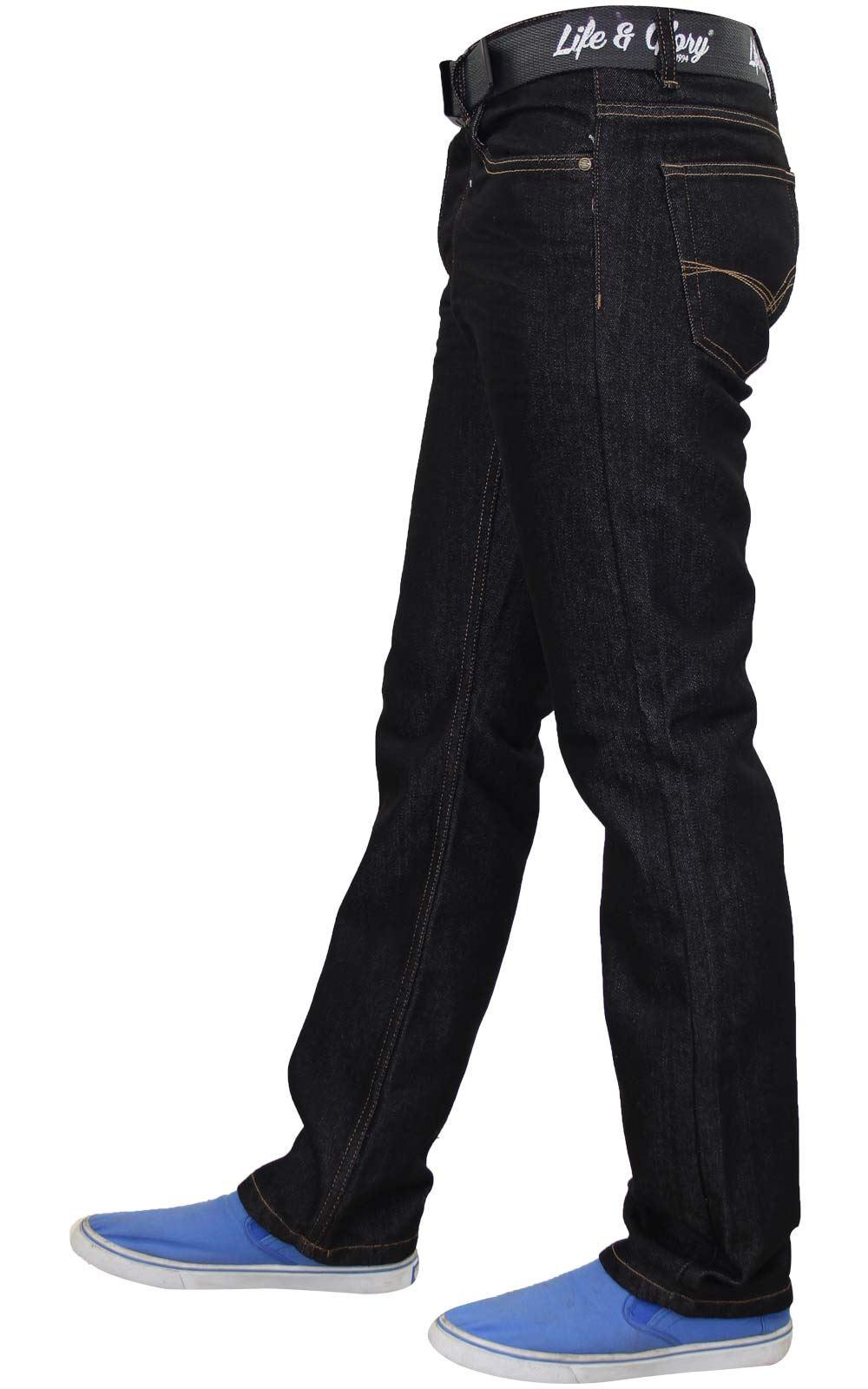Men-Regular-Fit-Jeans-Denim-Button-Fly-Straight-Leg-Trouser-Pant-With-Free-Belt thumbnail 5