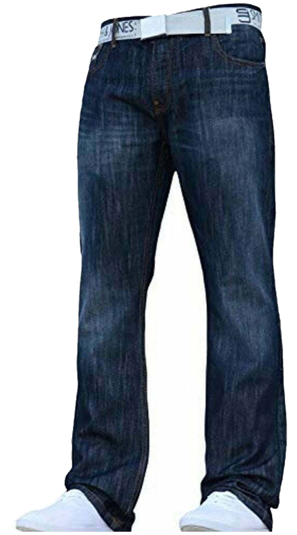 Mens Straight Leg Jeans Rawcraft Designer Multiple Pockets Denim Cargo Trousers