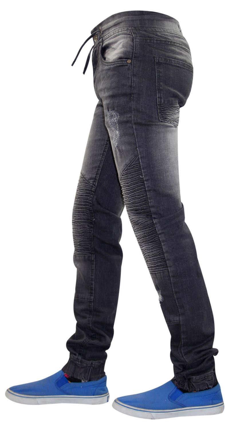 Mens-Ripped-Jeans-Slim-Fit-Distressed-Denim-Biker-Pants-Casual-Cuffed-Trousers thumbnail 15