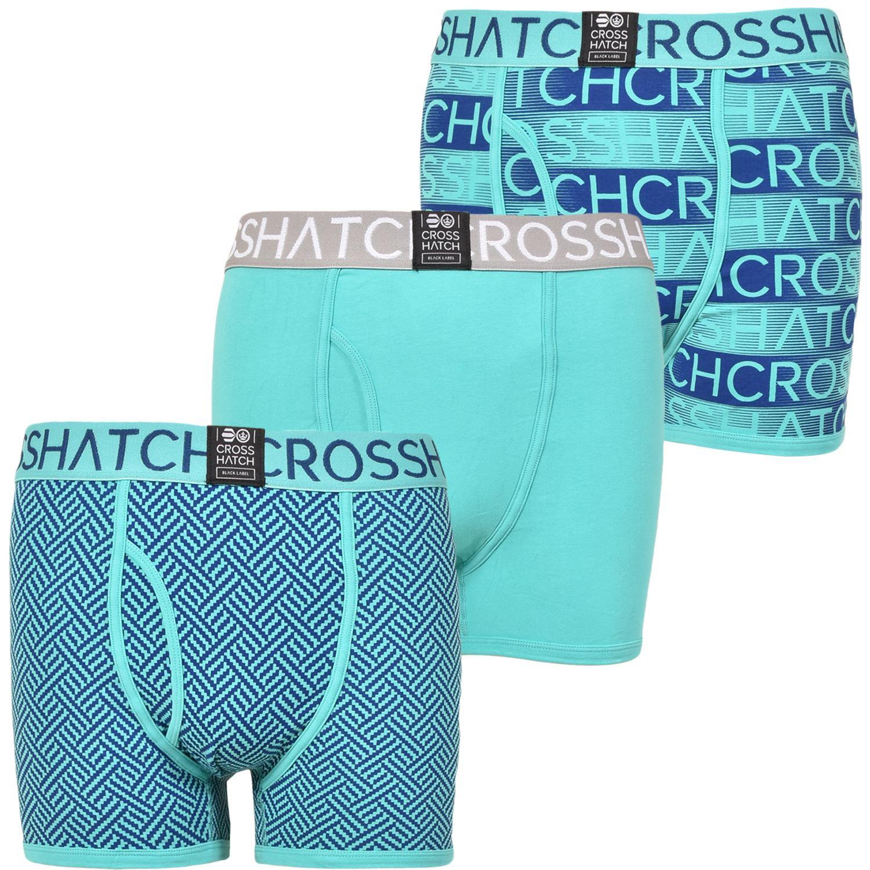 thumbnail 3 - Mens Crosshatch Boxers 3 Pack Shorts Underwear Underpants Trunks Multipack Sets