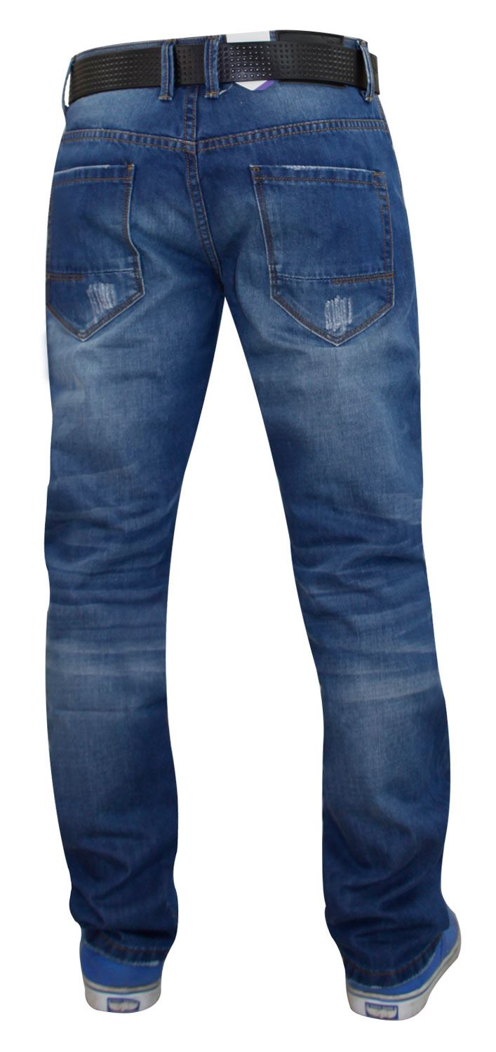 Mens-Straight-Leg-Jeans-Regular-Fit-Denim-Pants-Trousers-With-Free-Leather-Belt thumbnail 9