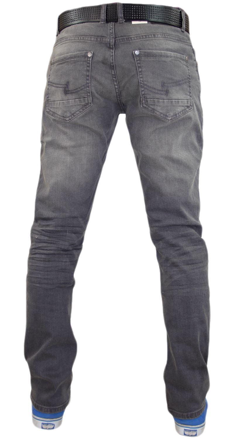 Crosshatch-Mens-Denim-Jeans-Straight-Fit-Stretch-Cotton-Trousers-Pants-Free-Belt thumbnail 14