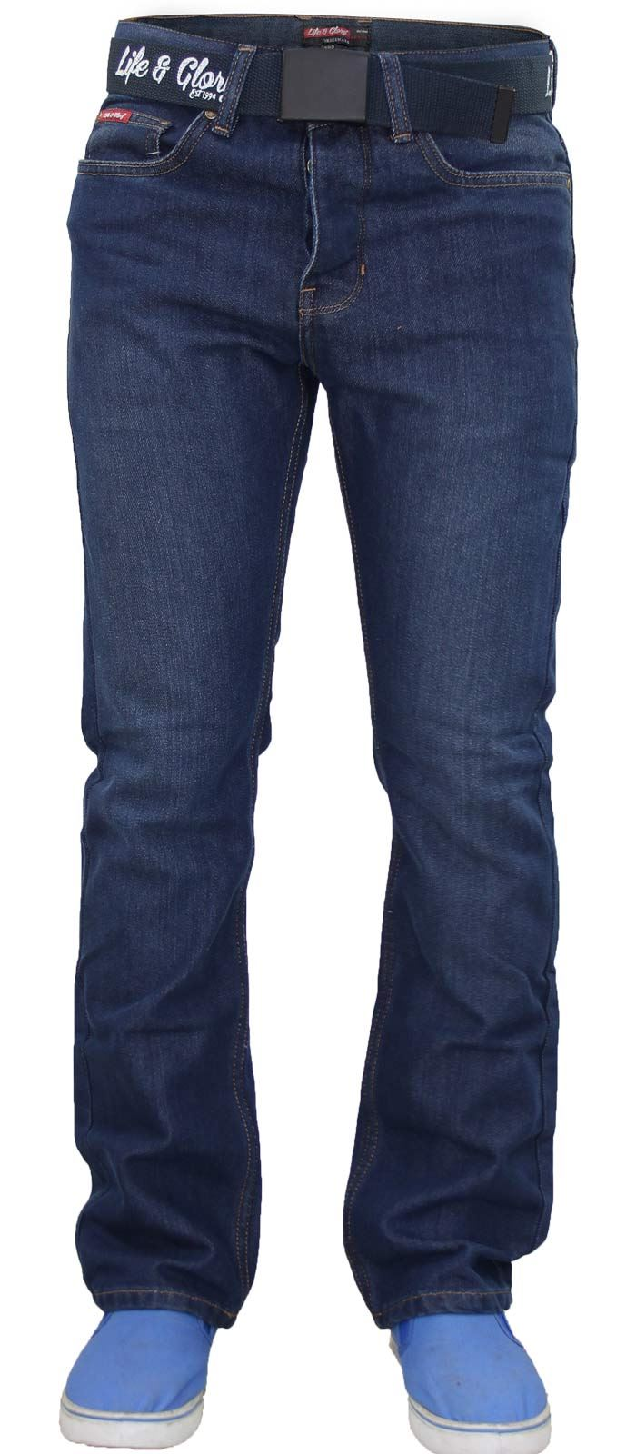 Mens-Regular-Fit-Jeans-Straight-Leg-Denim-Pants-Casual-Trousers-With-Free-Belt thumbnail 11