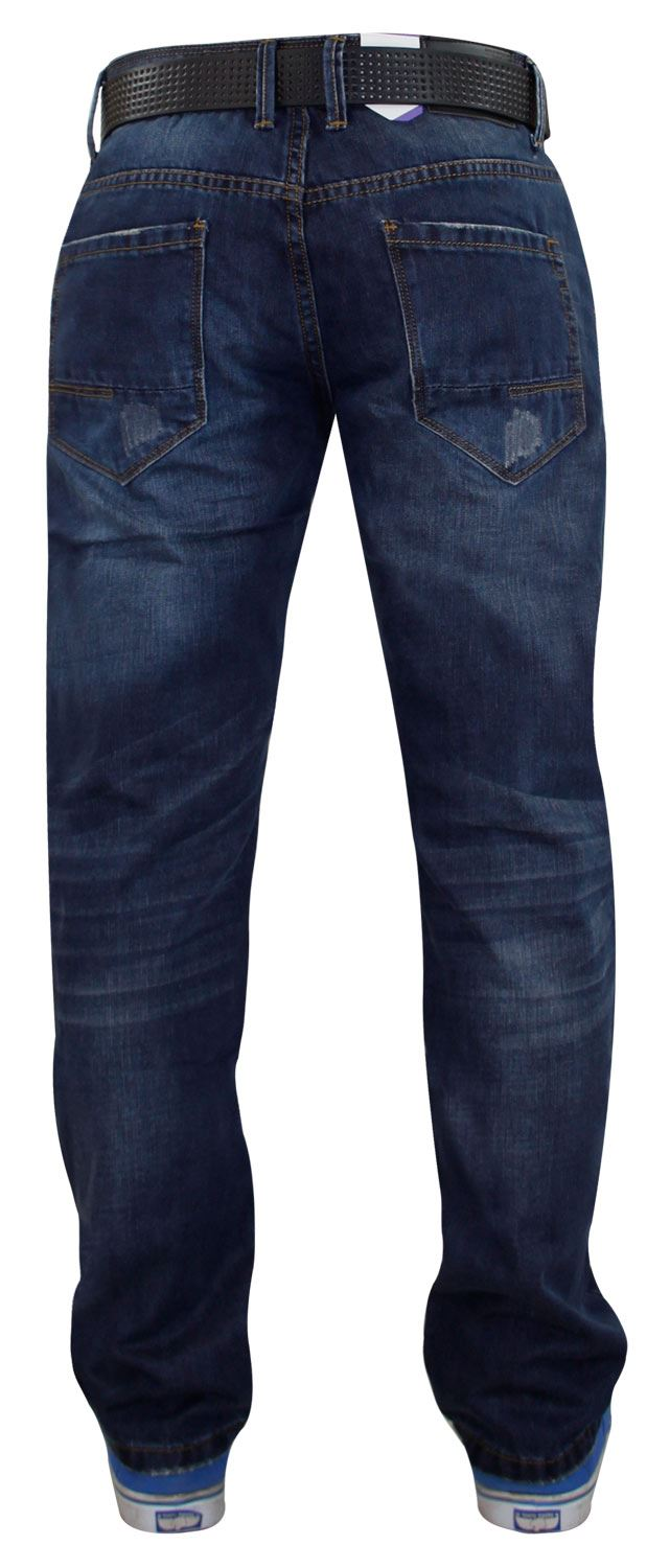 Mens-Straight-Leg-Jeans-Regular-Fit-Denim-Pants-Trousers-With-Free-Leather-Belt thumbnail 5