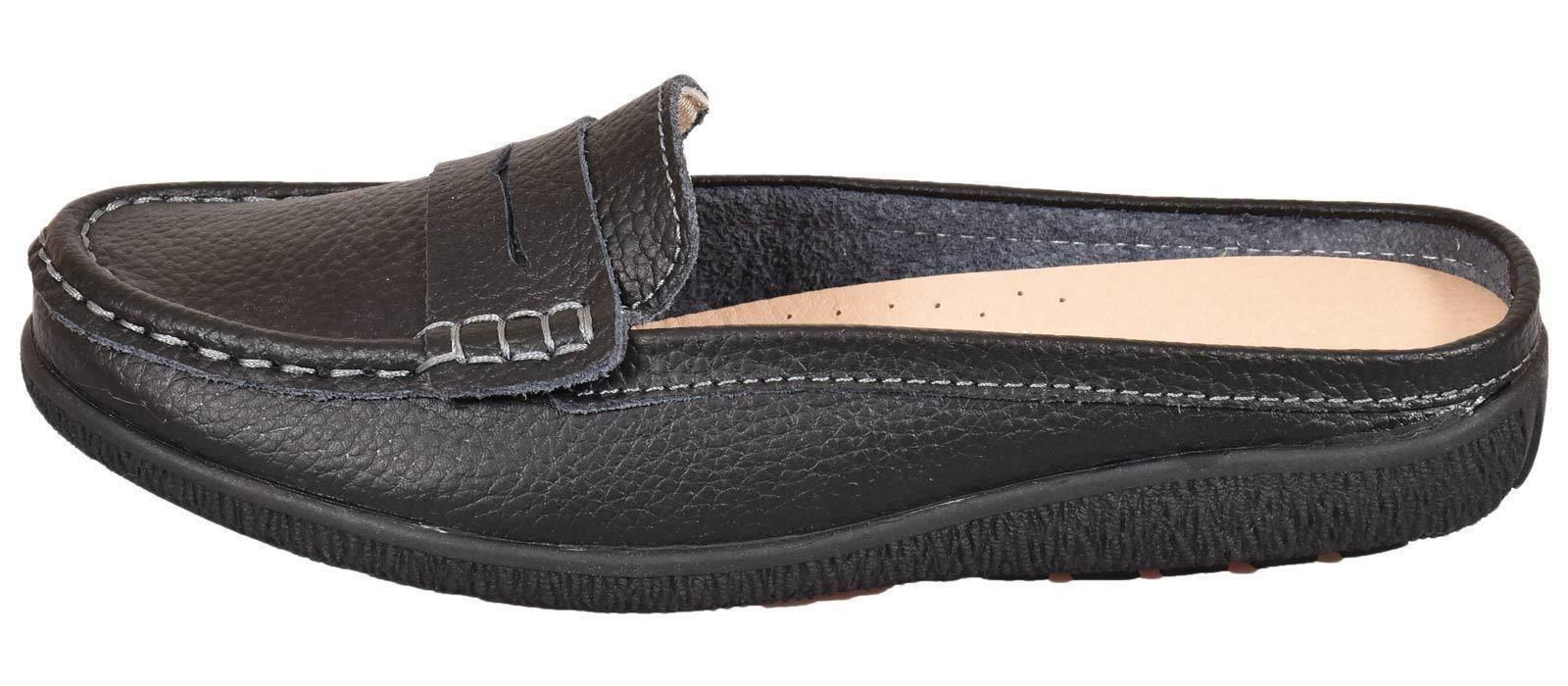 Ladies-Leather-Loafer-Mules-Comfort-Shoes-Womens-Slider-Moccasins-Shoes thumbnail 4