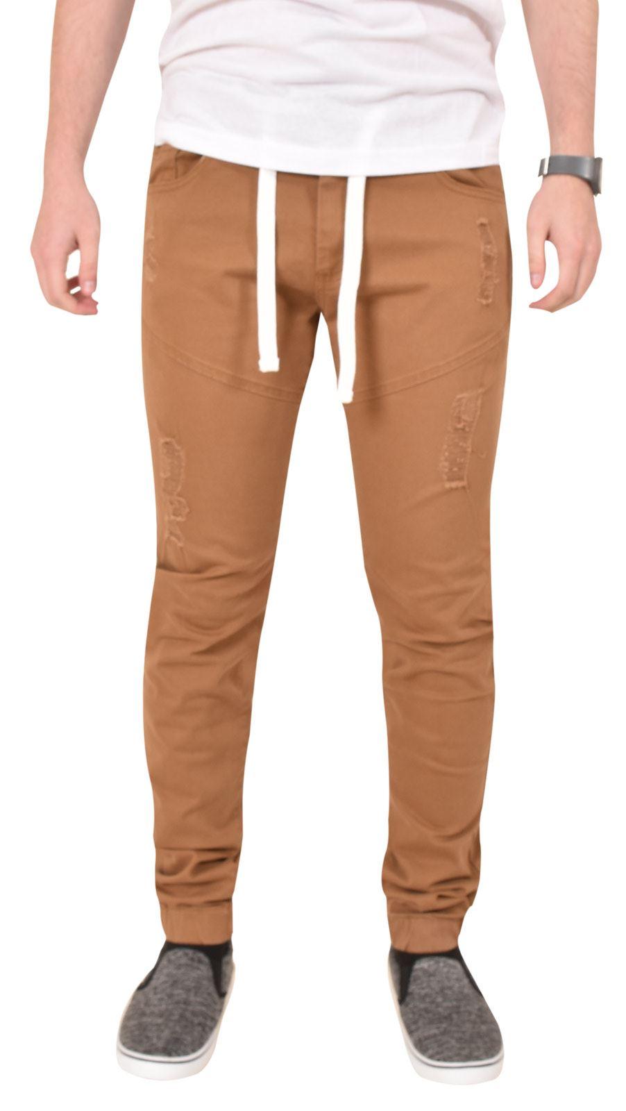 9de33568b Mens Cuffed Jeans Designer Casual Denim Chino Drawstring ENZO Ripped  Trousers