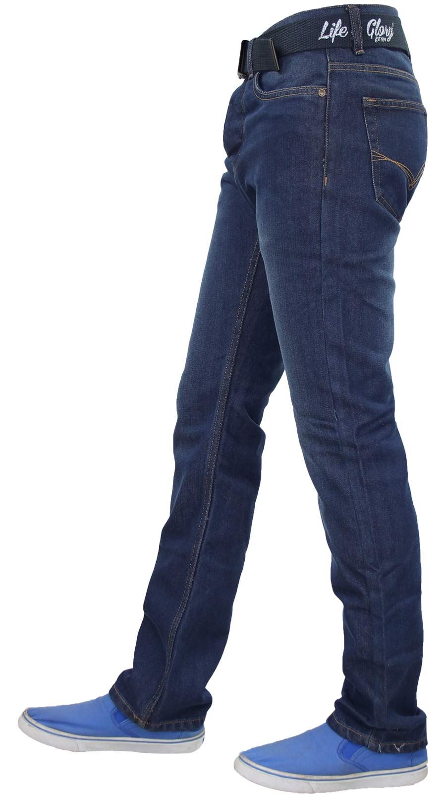 Mens-Regular-Fit-Jeans-Straight-Leg-Denim-Pants-Casual-Trousers-With-Free-Belt thumbnail 10