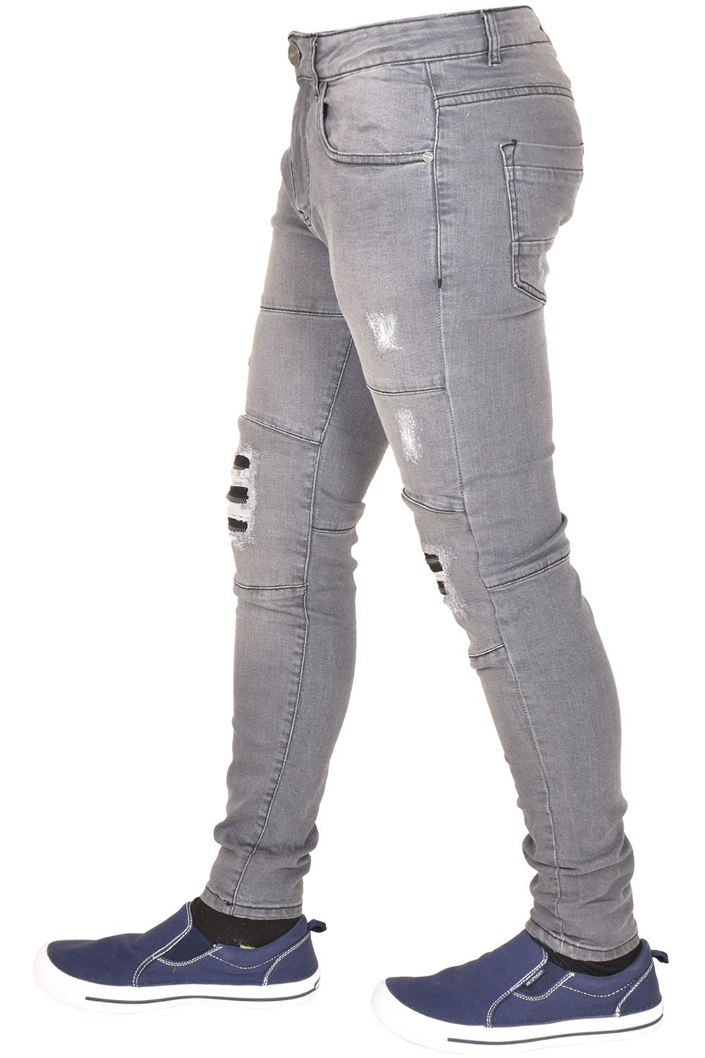 Enzo-Mens-Ripped-Jeans-Skinny-Slim-Fit-Denim-Pants-Casual-Trousers-Size-28-40 thumbnail 4