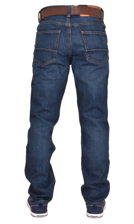 Crosshatch-Men-Jeans-Regular-Straight-Leg-Open-Hem-Trousers-Pants-With-Free-Belt thumbnail 10