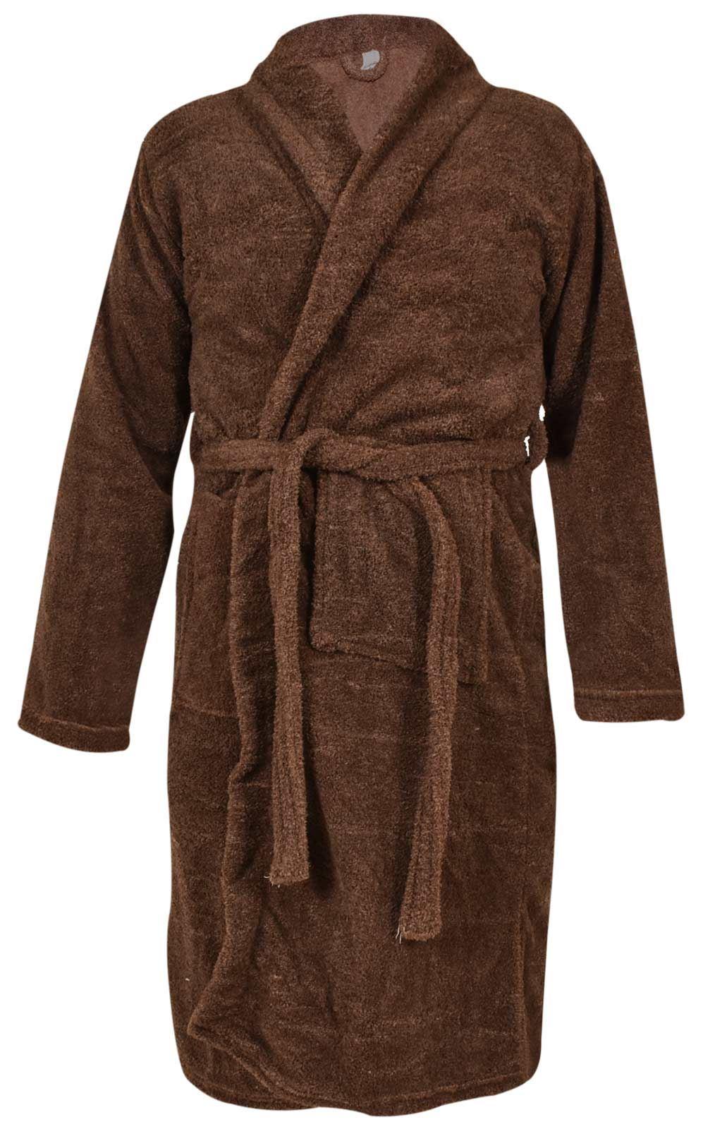 a1fb50a4ab Mens Bathrobe Polyester Fleece Pockets Plain Comfy Dressing Gown