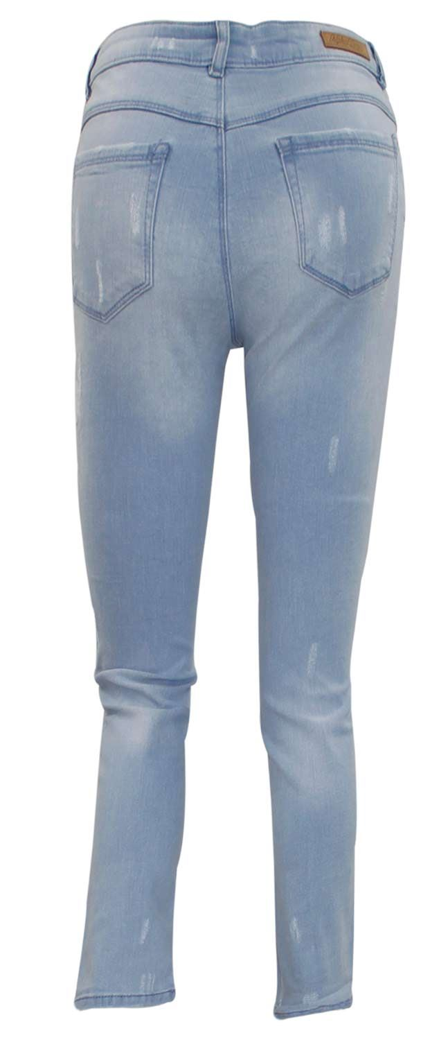 679db2047b0aa New Ladies Stretch Ripped Repair Jeans Zip Fly Womens Buttons Cotton ...
