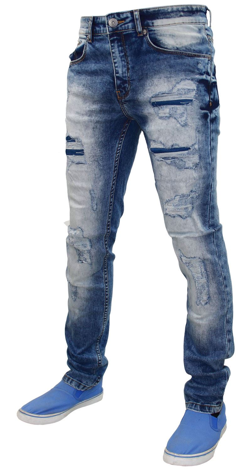 Mens-Ripped-Jeans-Slim-Fit-Skinny-Denim-Stretch-Pants-Cotton-Trousers-28-to-38 thumbnail 5