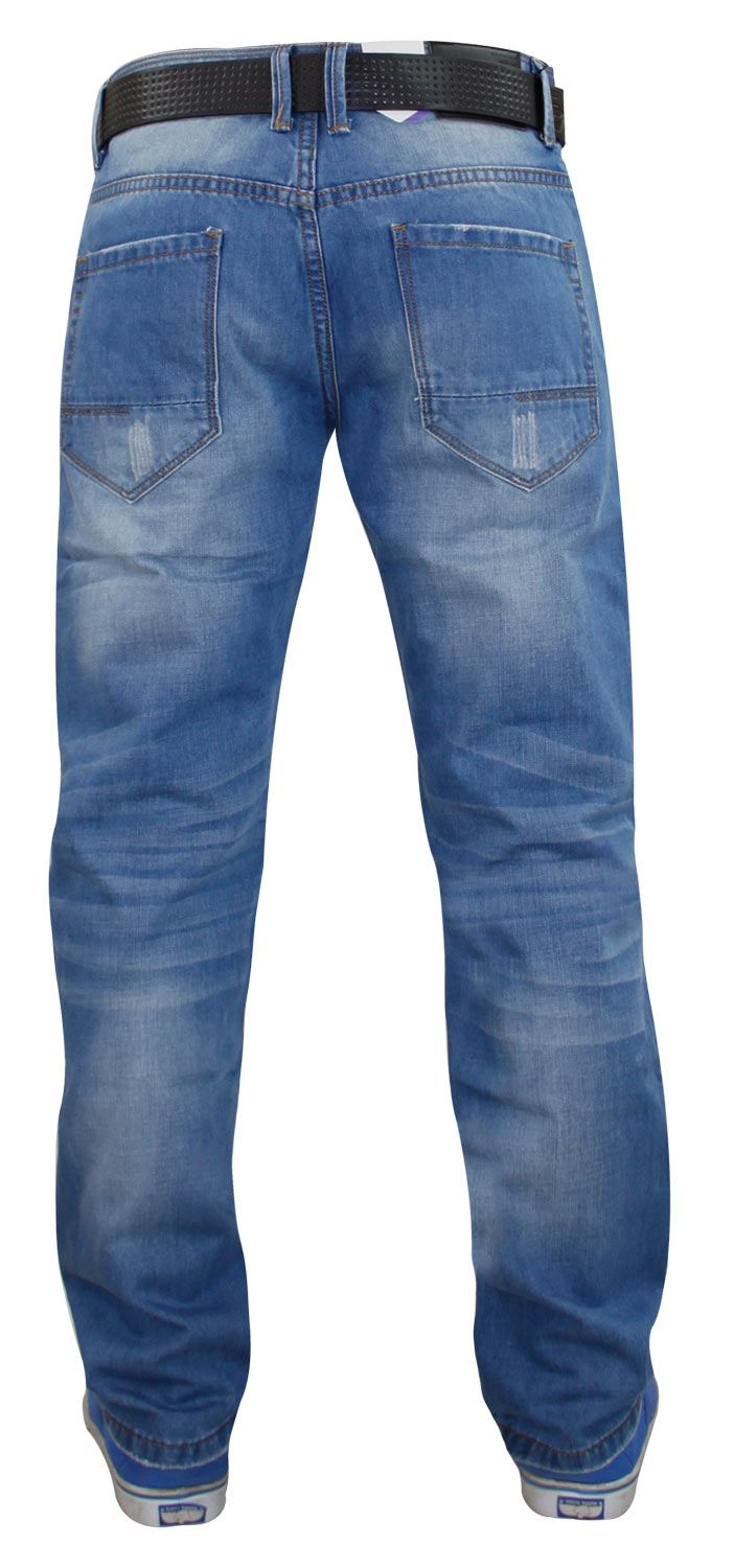 Mens-Straight-Leg-Jeans-Regular-Fit-Denim-Pants-Trousers-With-Free-Leather-Belt thumbnail 13