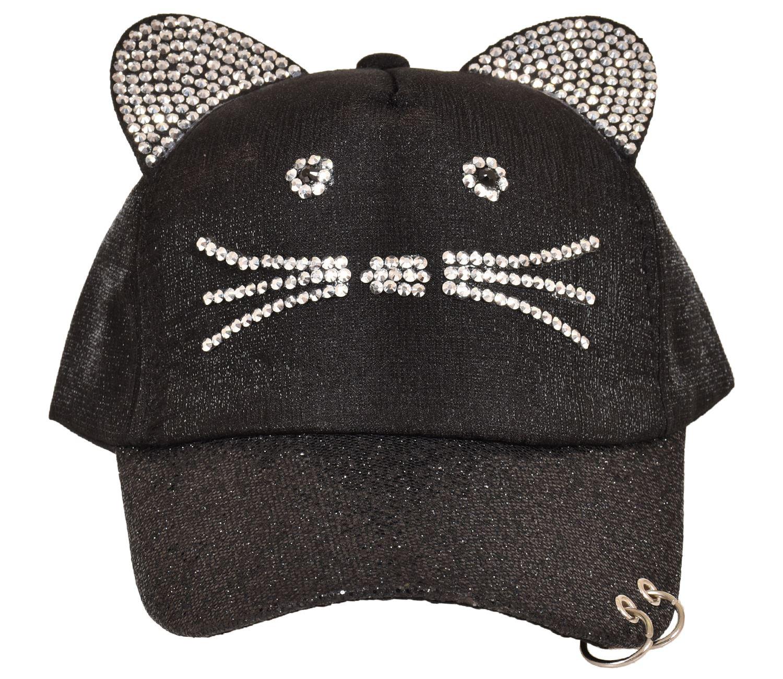 Unisex Cat Baseball Cap Diamante Glitter Snapback curved Peak Hat  5139190e19c
