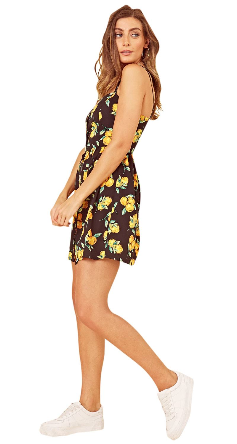 Womens Geo Print Short Sleeves V-Neck Dress With Mock Horn Buttons