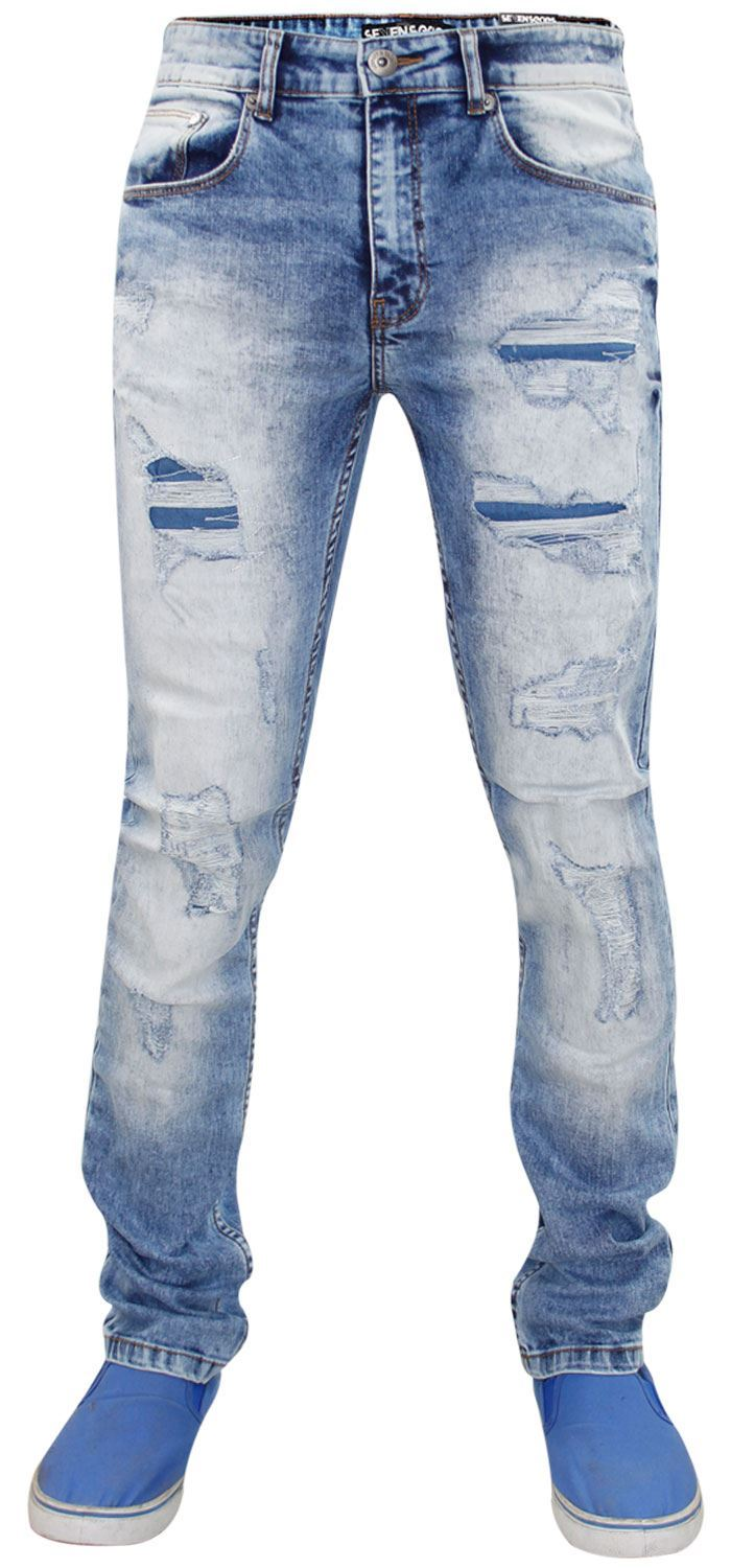Mens-Ripped-Jeans-Slim-Fit-Skinny-Denim-Stretch-Pants-Cotton-Trousers-28-to-38 thumbnail 7