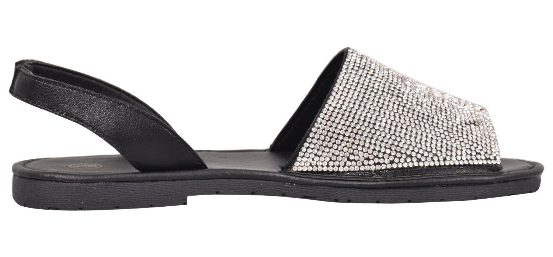 Truffle-Ladies-Menorcan-Sandals-Slingback-Flat-Glitter-Peep-Toe-Spanish-Shoes thumbnail 10